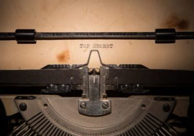 Top Secret message printed on old typing machine